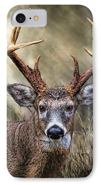 IPhone Case featuring the digital art Trophy 10 Point Buck by Mary Almond