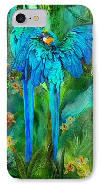 Tropic Spirits - Gold And Blue Macaws IPhone 7 Case by Carol Cavalaris