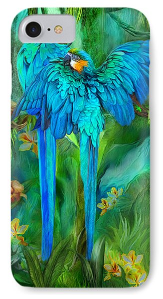 Tropic Spirits - Gold And Blue Macaws IPhone Case by Carol Cavalaris