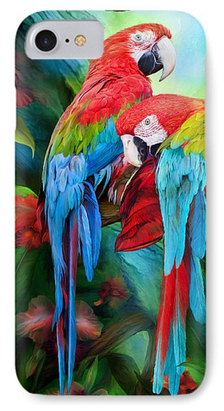Tropic Spirits - Macaws IPhone Case by Carol Cavalaris