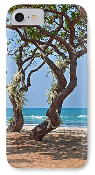 Tropical Heliotrope Trees With White Orchids On Beach IPhone Case by Valerie Garner