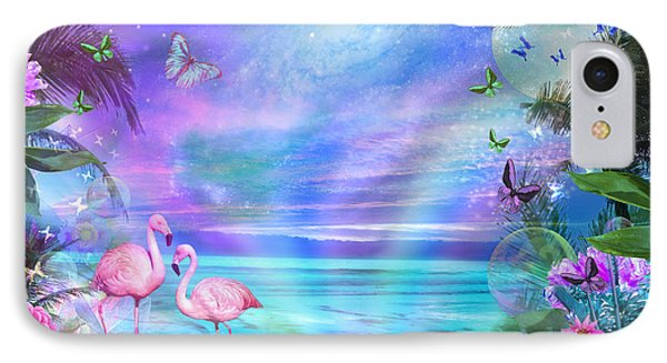 Tropical Moonlight Flamingos IPhone Case