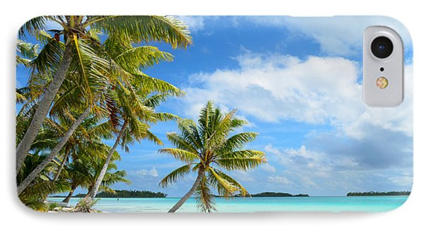 Tropical Beach With Hanging Palm Trees In The Pacific IPhone Case by IPics Photography