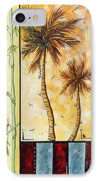 Tropical Palm Tree Coastal Decorative Art Original Painting Tropical Breeeze I By Madart Studios IPhone Case by Megan Duncanson