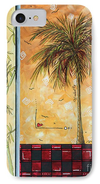 Tropical Palm Tree Coastal Decorative Art Original Painting Tropical Breeeze II By Madart Studios IPhone Case by Megan Duncanson