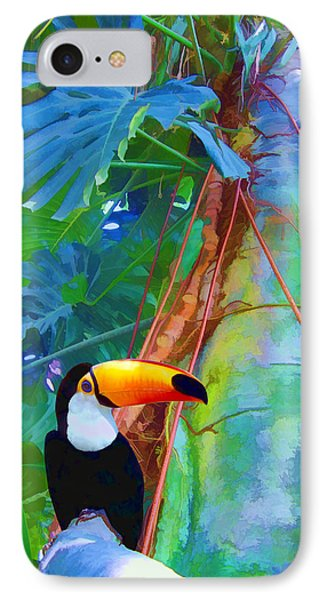 IPhone Case featuring the digital art Tropical Toucan by Kathleen Holley