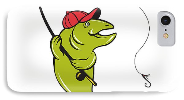 Trout Fly Fishing Rod Hook Cartoon IPhone Case by Aloysius Patrimonio