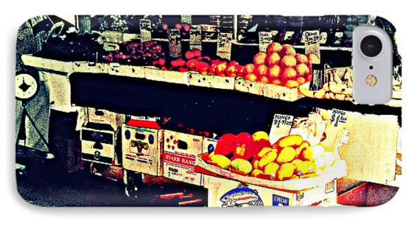 IPhone Case featuring the photograph Vintage Outdoor Fruit And Vegetable Stand - Markets Of New York City by Miriam Danar