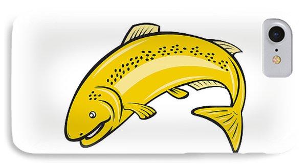 Trout Rainbow Fish Jumping Cartoon  IPhone Case by Aloysius Patrimonio
