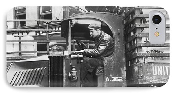 Truck Driver In His Cab IPhone Case