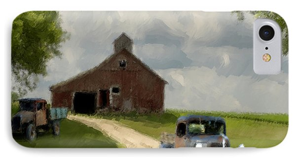 Trucks And Barn IPhone Case by Jack Zulli