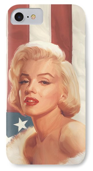 True Blue Marilyn In Flag IPhone 7 Case by Chris Consani