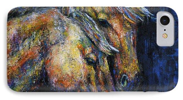 True Companions Contemporary Horse Painting IPhone Case by Jennifer Godshalk