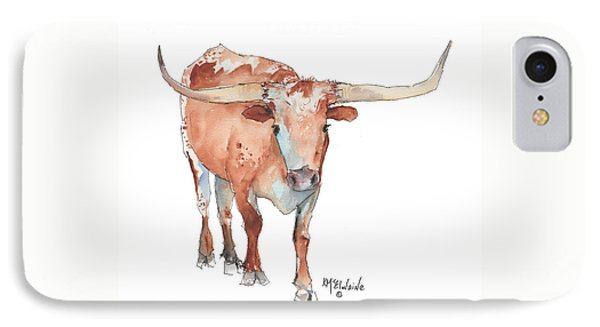 Square Walking Tall Texas Longhorn Watercolor Painting By Kmcelwaine IPhone Case by Kathleen McElwaine
