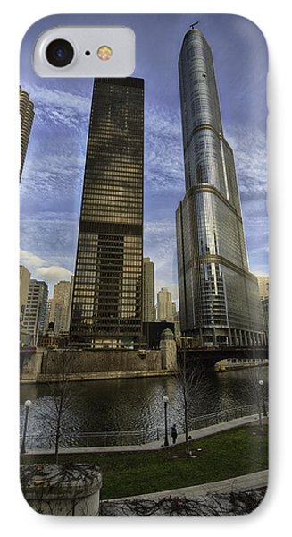 Trump Tower And River Front IPhone Case by Sebastian Musial