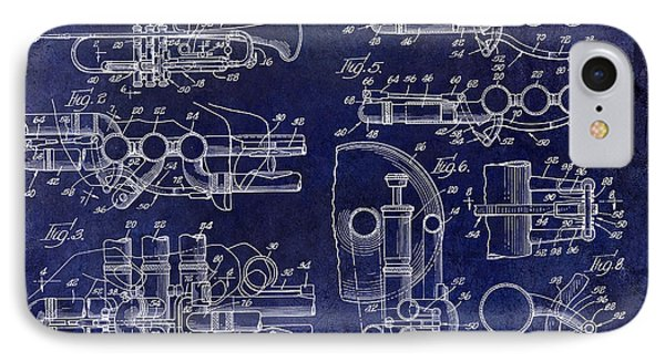 Trumpet Patent Drawing Blue IPhone Case