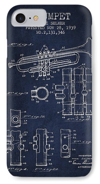 Trumpet Patent From 1939 - Blue IPhone Case by Aged Pixel