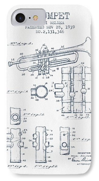 Trumpet Patent From 1939 - Blue Ink Phone Case by Aged Pixel