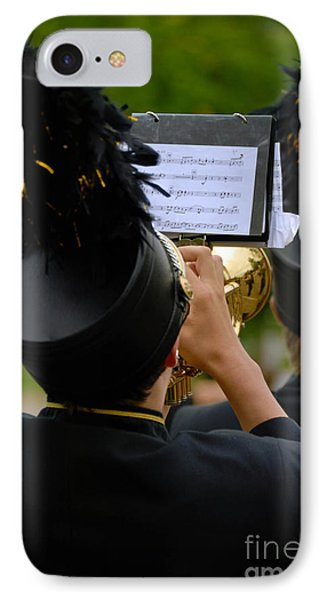 Trumpet Player In Marching Band Phone Case by Amy Cicconi