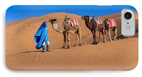 Tuareg Man Leading Camel Train IPhone Case by Panoramic Images
