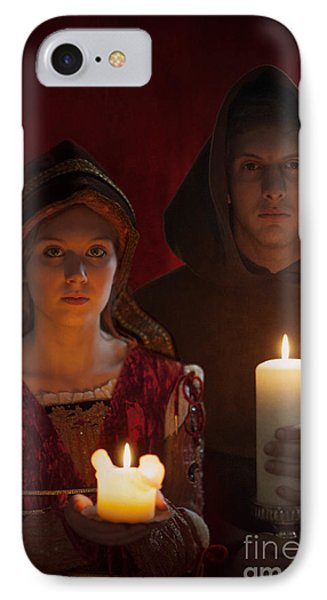 Tudor Medieval Young Attractive Couple  Holding  Candles Phone Case by Lee Avison