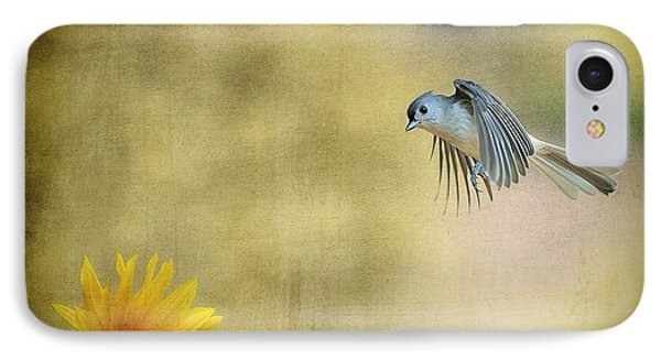 Tufted Titmouse Flying Over Flower Phone Case by Dan Friend
