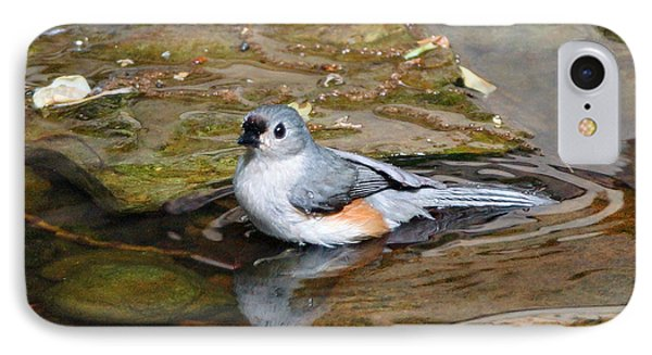 Tufted Titmouse In Pond Phone Case by Sandy Keeton