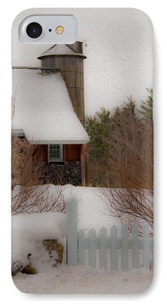 IPhone Case featuring the photograph Tuftonboro Farm In Snow by Brenda Jacobs
