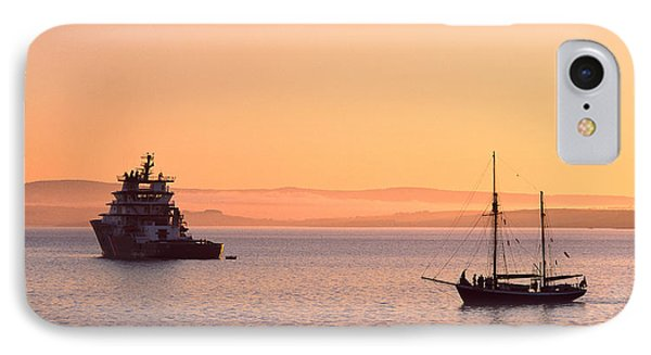 Tugboat And A Tall Ship In The Baie De IPhone Case by Panoramic Images