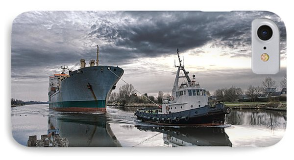 Tugboat Pulling A Cargo Ship IPhone Case by Olivier Le Queinec