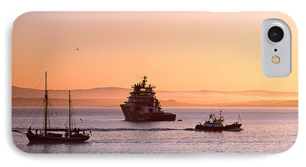 Tugboat With A Trawler And A Tall Ship IPhone Case by Panoramic Images