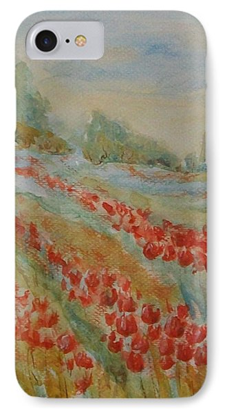 IPhone Case featuring the painting Tulip Field by Jane  See