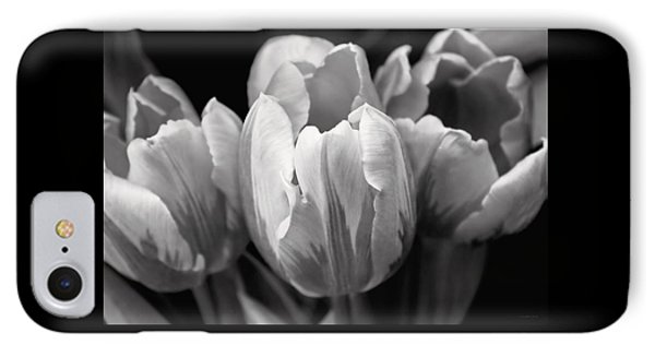 Tulip Flowers Black And White IPhone Case by Jennie Marie Schell