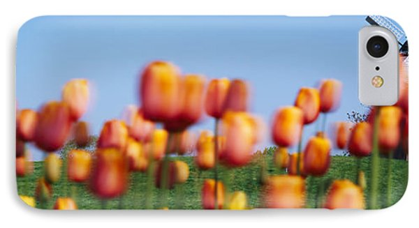 Tulip Flowers With A Windmill In The IPhone Case by Panoramic Images