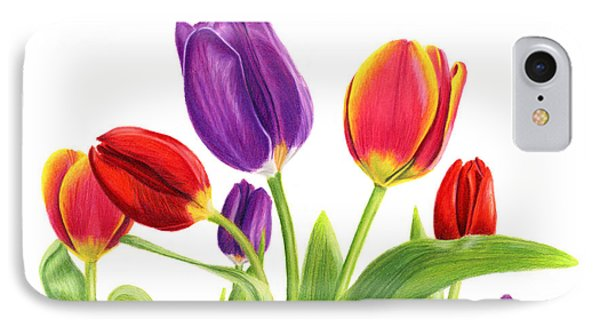 Tulip Garden On White IPhone Case