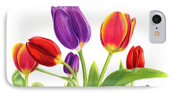 Tulip Garden On White IPhone Case by Sarah Batalka
