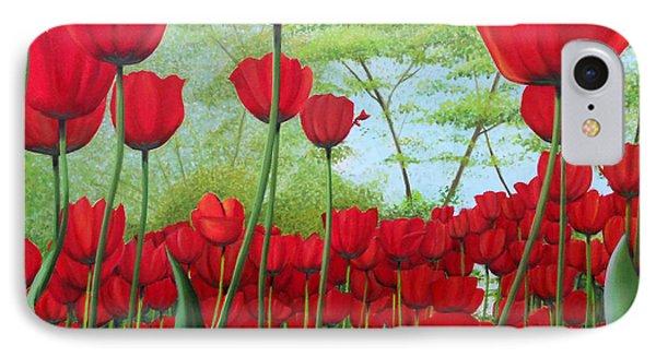 Tulipanes  IPhone Case by Angel Ortiz