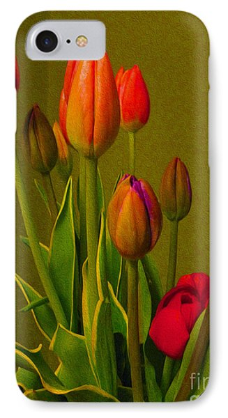 Tulips Against Green IPhone Case by Nina Silver