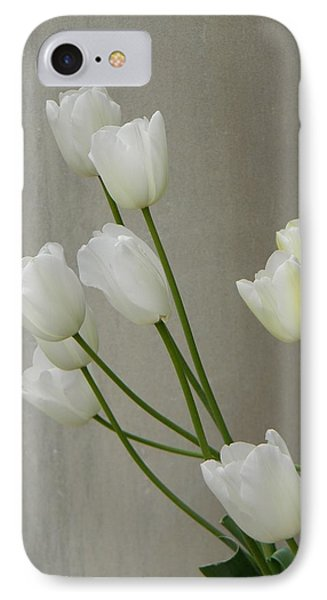 Tulips Against Pillar IPhone Case by Jean Goodwin Brooks