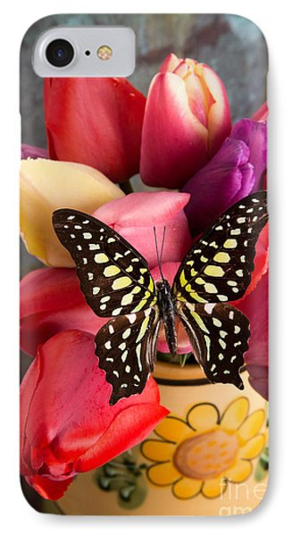 Tulips And Butterflies IPhone Case by Edward Fielding