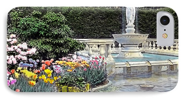 Tulips And Fountain Phone Case by Terry Reynoldson