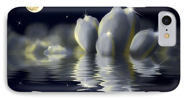 Tulips And Moon Reflection IPhone Case by Peter v Quenter