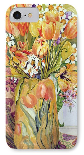 Tulips And Narcissi In An Art Nouveau Vase Phone Case by Joan Thewsey