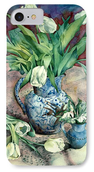 Tulips And Snowdrops Phone Case by Julia Rowntree