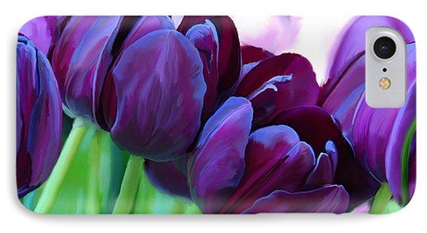 Tulips-dark-purple IPhone Case by Tim Gilliland