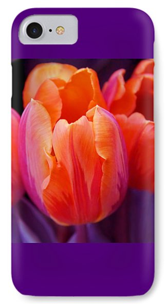 Tulips In Orange And Purple Phone Case by Jennie Marie Schell