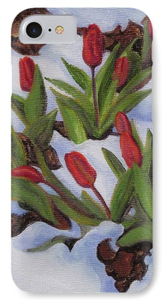 Tulips In Snow IPhone Case