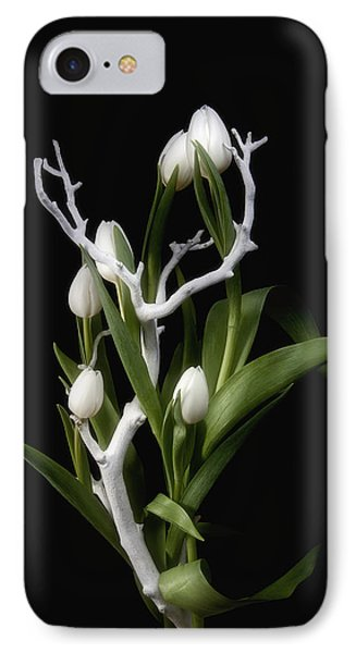 Tulips In Tree Branch Still Life IPhone Case by Tom Mc Nemar