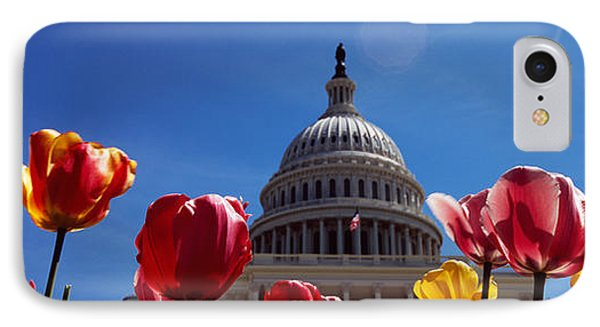 Tulips With A Government Building IPhone 7 Case by Panoramic Images