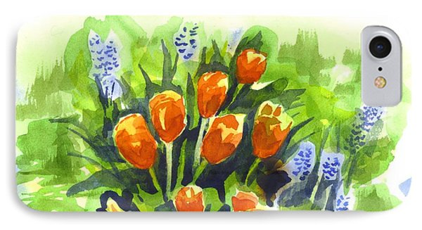 Tulips With Blue Grape Hyacinths Explosion Phone Case by Kip DeVore